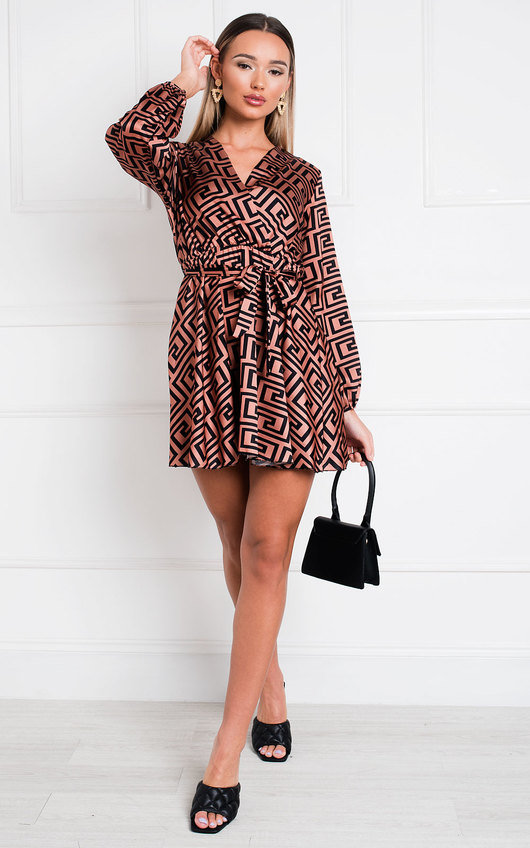 Cara Printed Wrap Dress