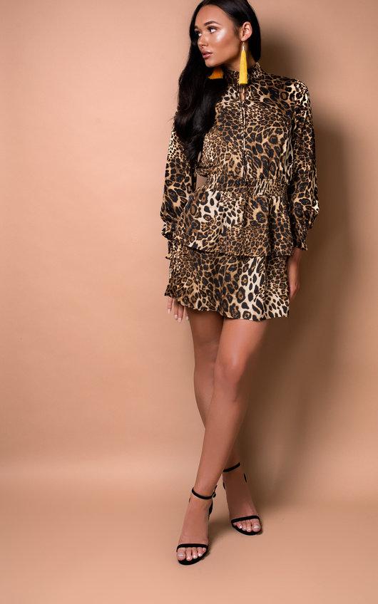 Carley Leopard Print Frill Dress