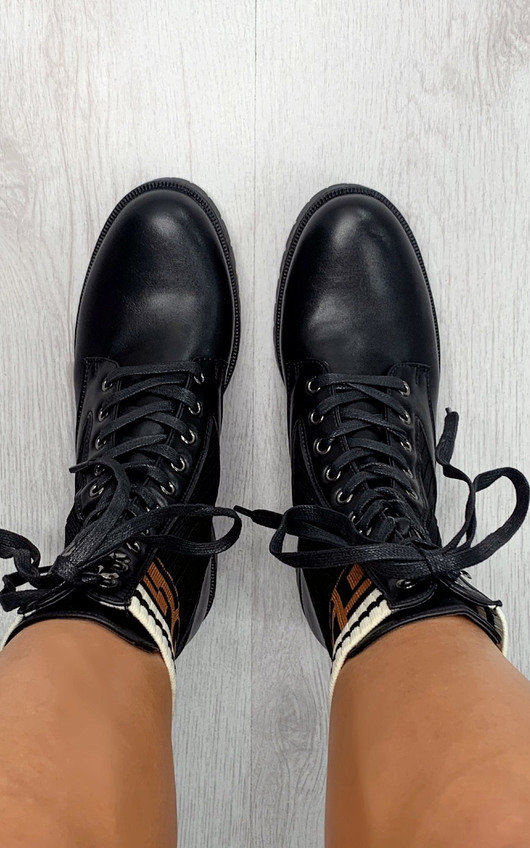 Carmen Printed Lace Up Ankle Boots