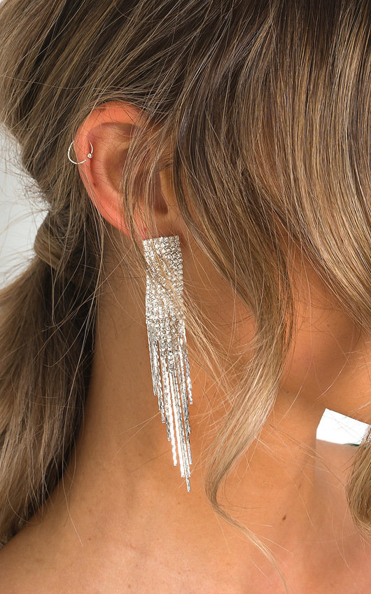 Caro Statement Tassel Diamante Earrings