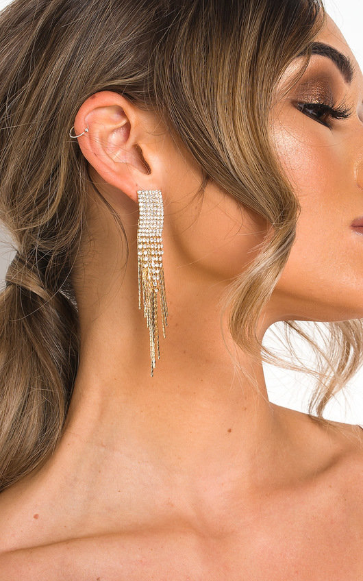 Caro Statement Tassel Diamante Earrings