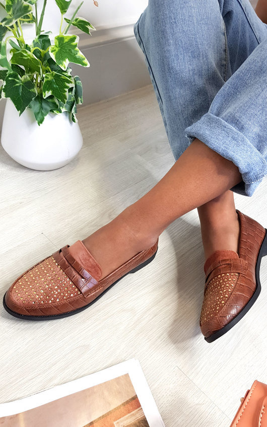 Carrie Faux Croc Print Loafer Flats