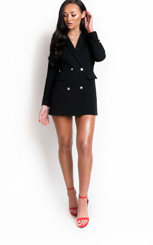 c1f26217767 Carris Gold Button Blazer Dress in Black