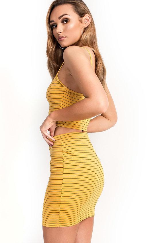 df3b17032451 Cartia Stripe Zipped Co-Ord in Mustard | ikrush