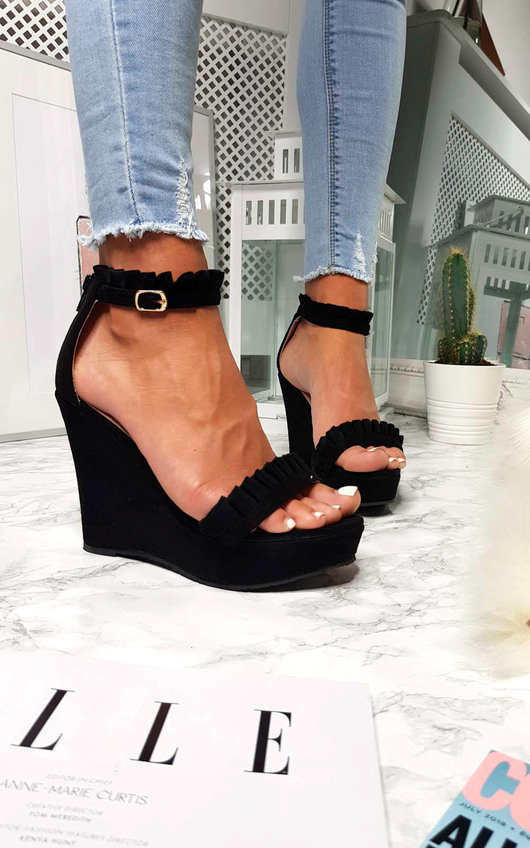 Casey Faux Suede Frill Wedges