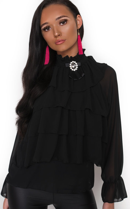 Casey Ruffle High Neck Blouse