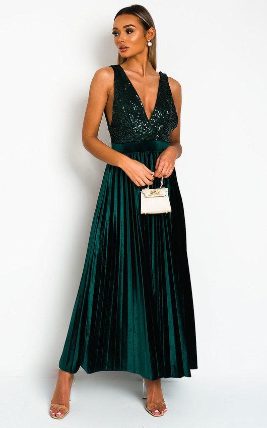 Cassandra Pleated Velvet Sequin Maxi Dress