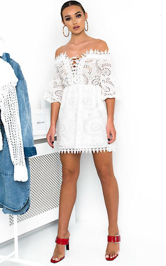 Cassia Lace Up Crochet Dress