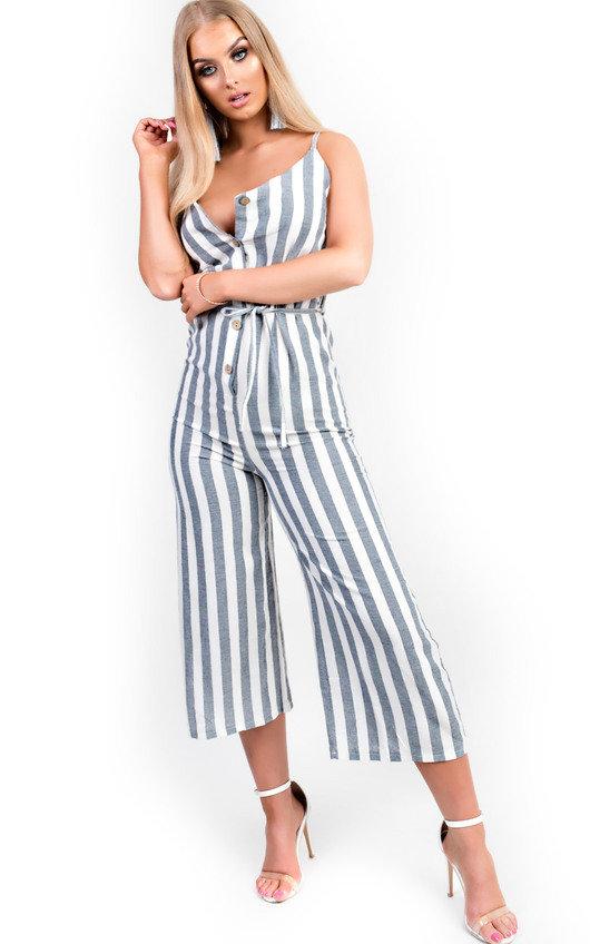 Cassidy Button Up Stripe Jumpsuit