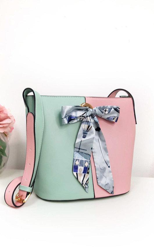 Cassie Two Tone Ribbon Handbag