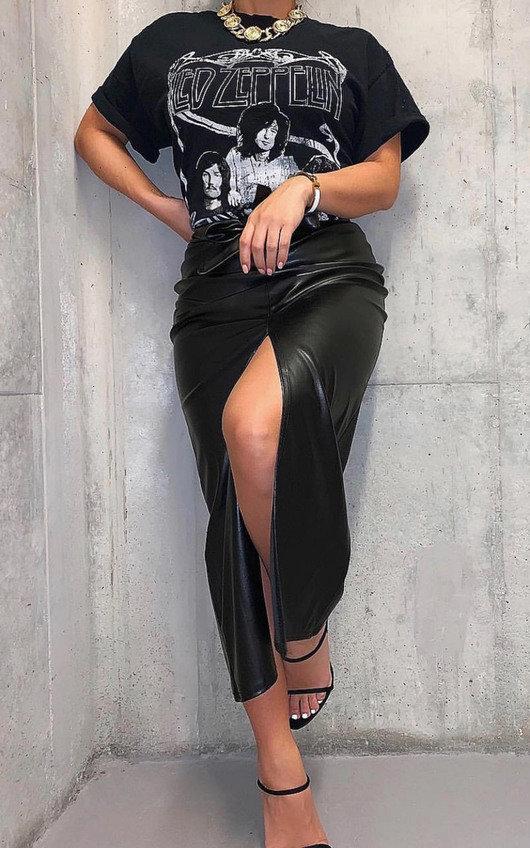 Cati Belted PU Split Skirt