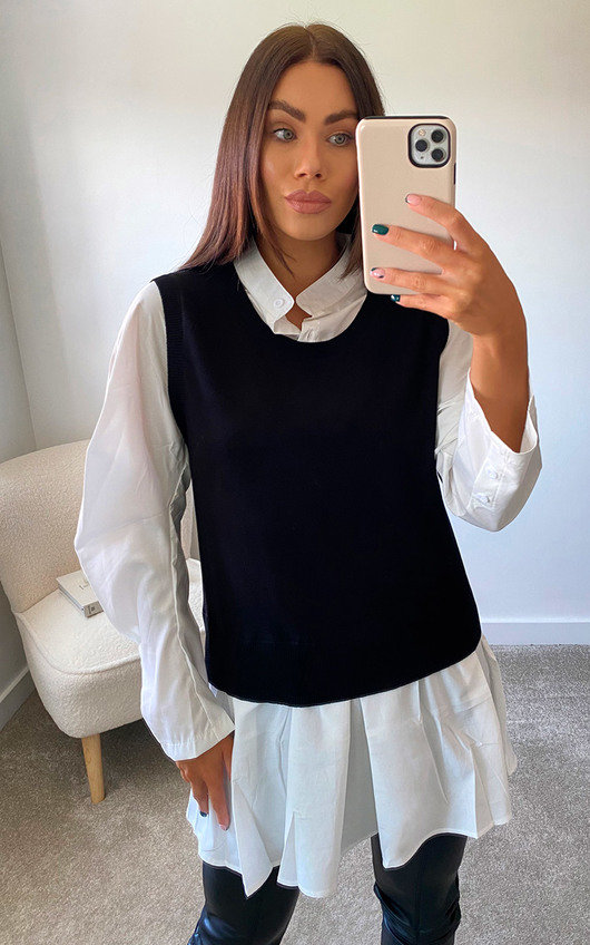 Cecilia 2 in 1 Knitted Sweater Shirt