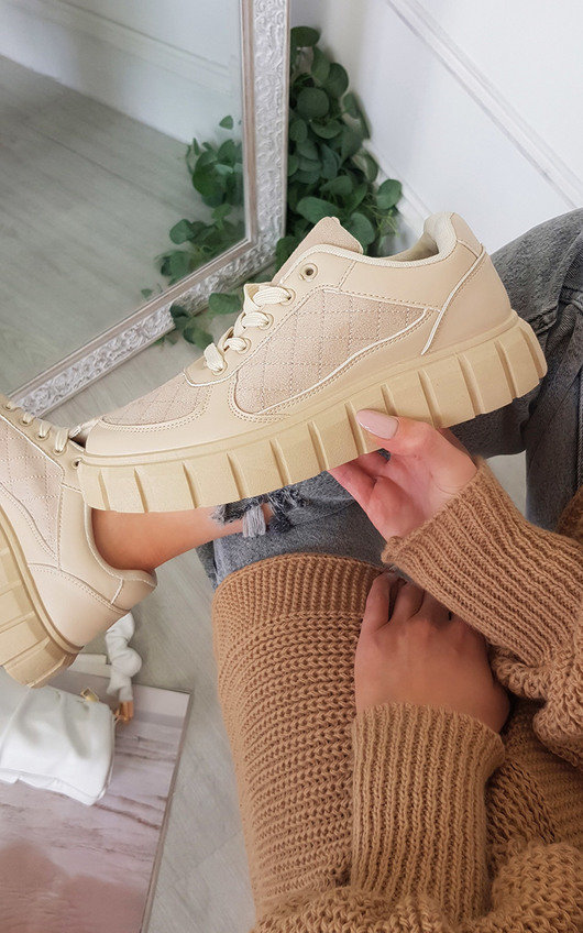 Celine Quilted Chunky Sole Trainers
