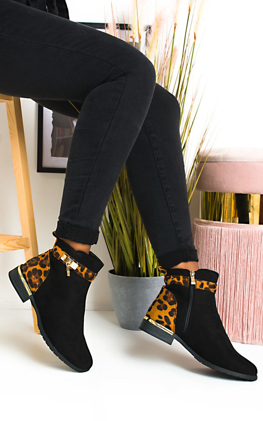 Charlee Leopard Faux Suede Ankle Boots