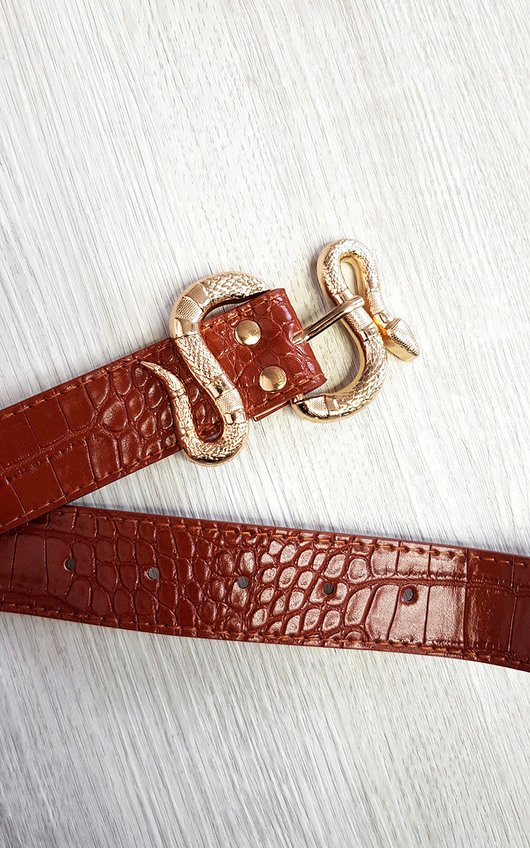 Charlotte Faux Leather Belt with Snake Buckle Detail