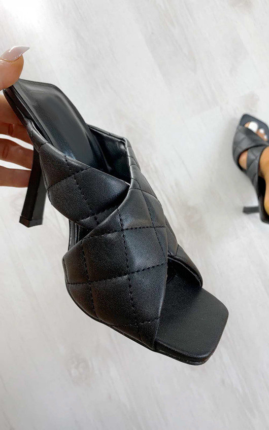Charlotte Quilted Crossover Mule Heels