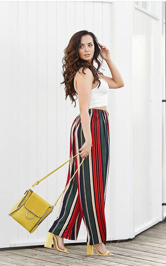 Charlotte Striped Wide Leg Trousers