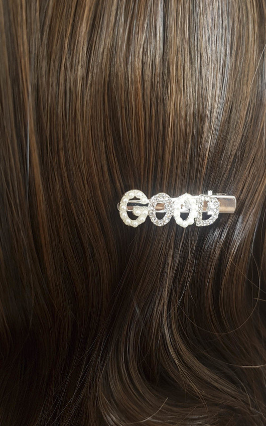 Chelsy Slogan Diamante and Pearl Hair Clip