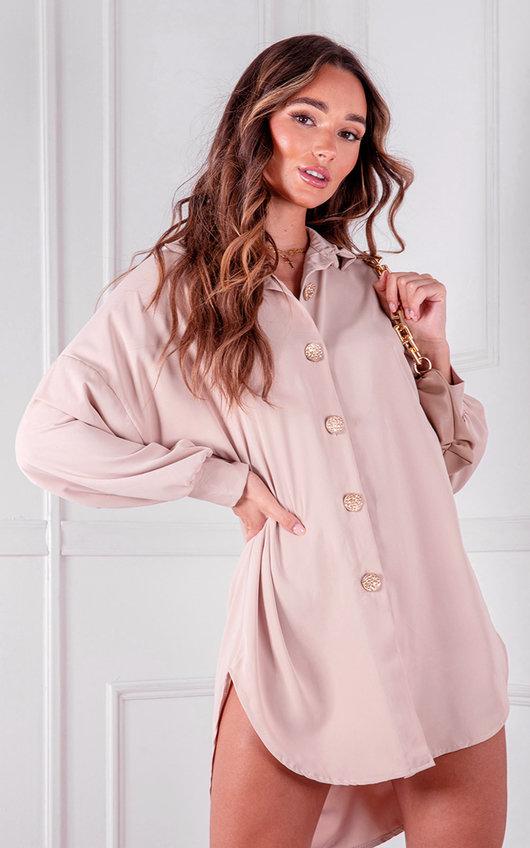 Cher Button Up Shirt Dress
