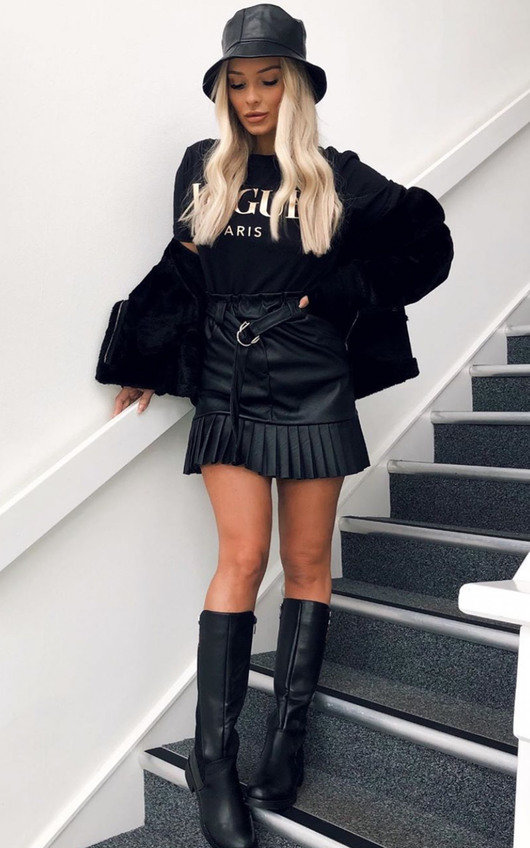 Cher Faux Leather Pleated Mini Skirt