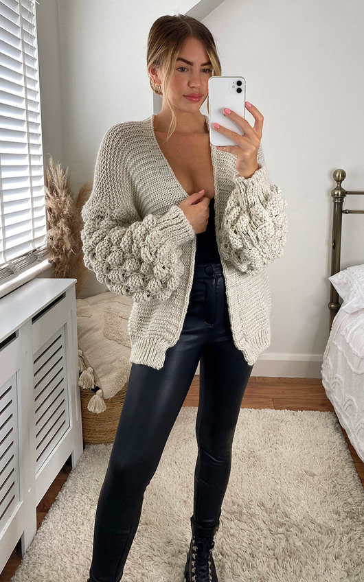 Cher Puff Sleeve Knitted Cardigan