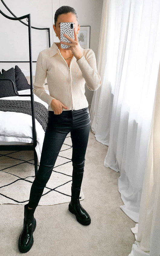 Cher Zip Front Ribbed Top