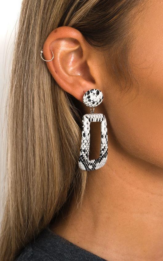 Cherri Statement Drop Croc Print Earrings