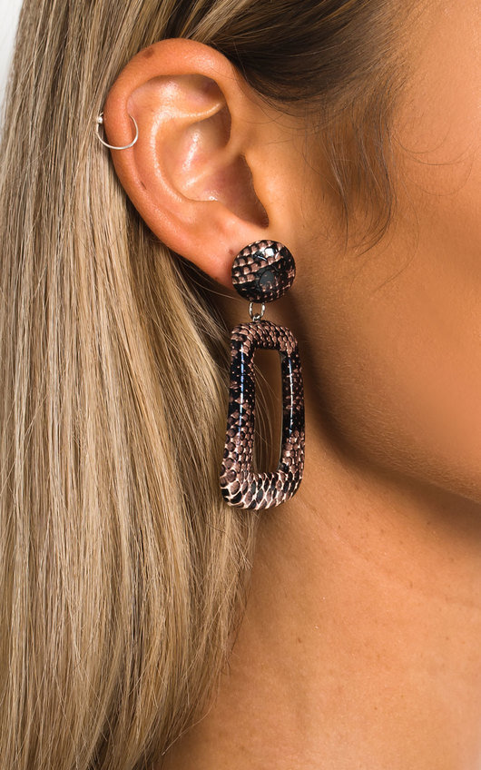 Cherri Statement Drop Croc Print Earrings