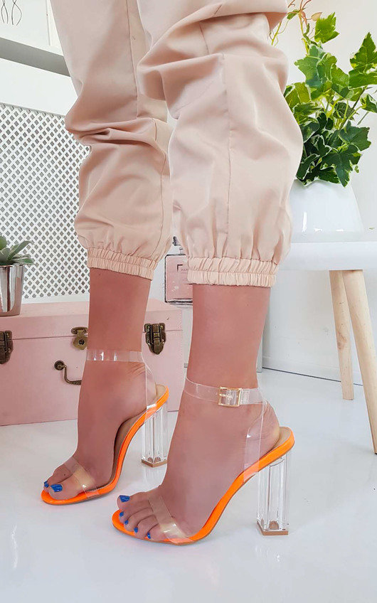 Chlo Barely There Clear Block Heels