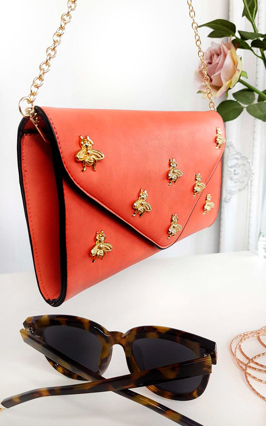 Chlo Bee Embellished Envelope Clutch Bag