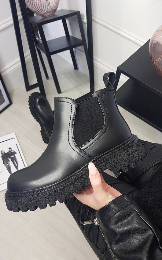 Chloe Faux Leather Chunky Ankle Boots