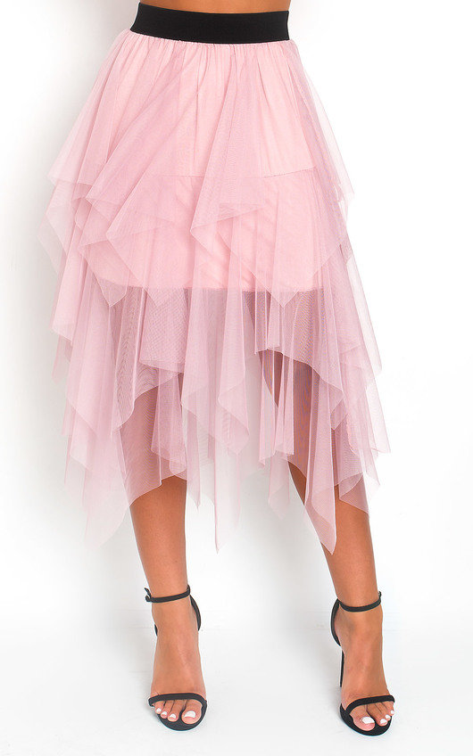 Chloe Layered Net Midi Skirt