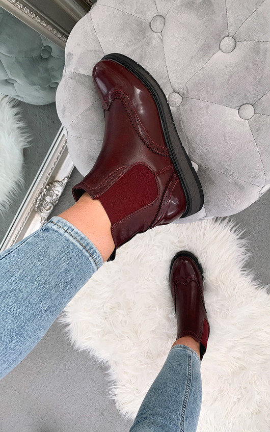 Chrishell Faux Leather Brogue Chelsea Boots