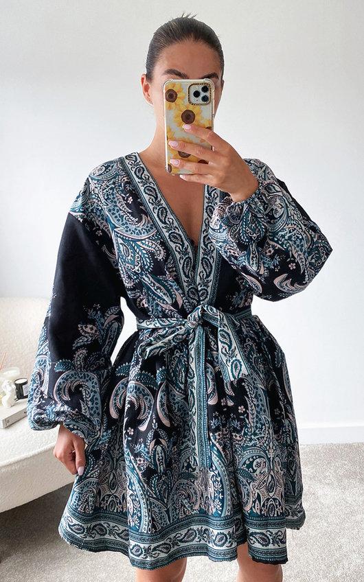 Chrishell Oversized Sleeve Belted Printed Mini Dress