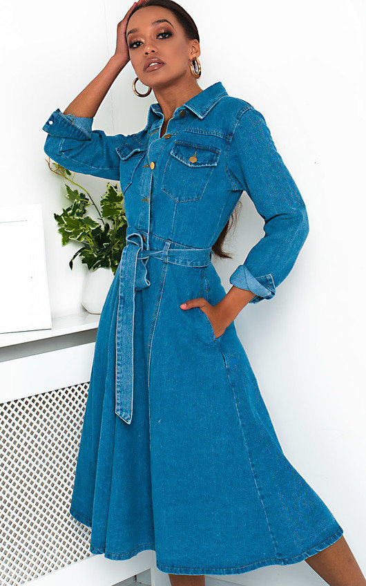 Chrissy Button Up Denim Dress