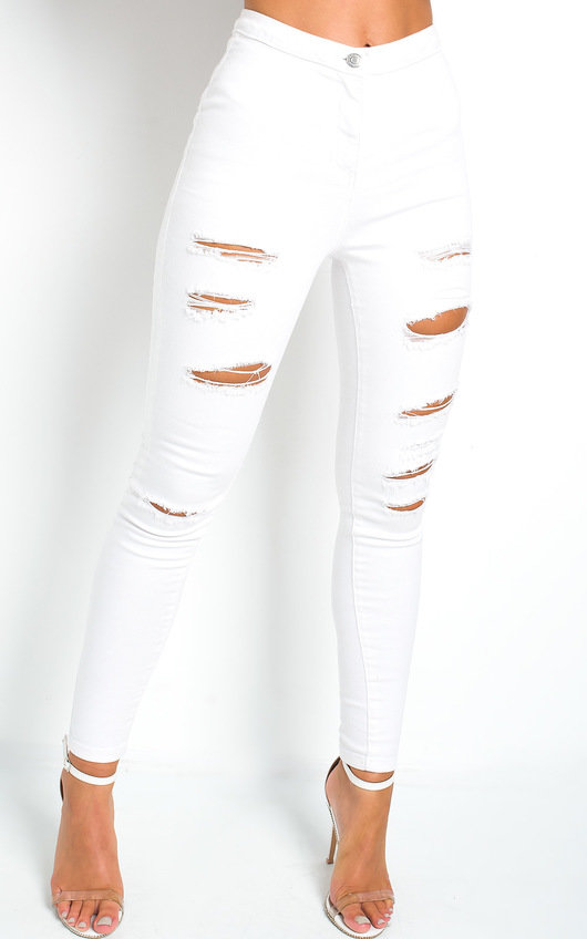 Chrissy Distressed White Skinny Jeans