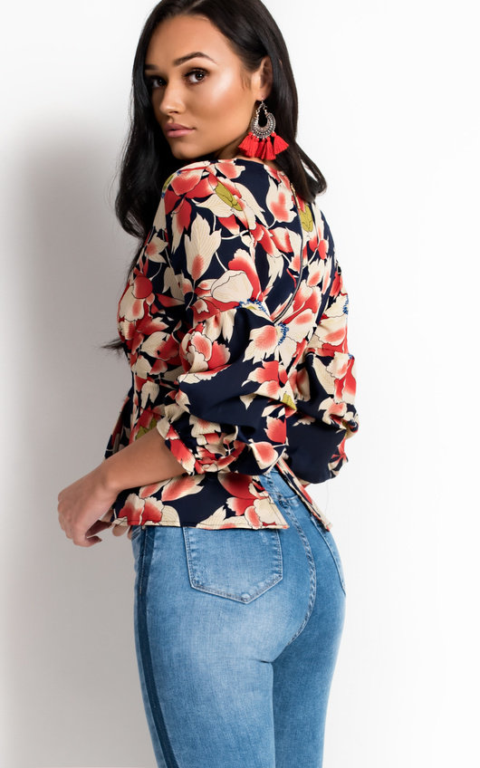 Chrissy Floral Peplum Pleated Top