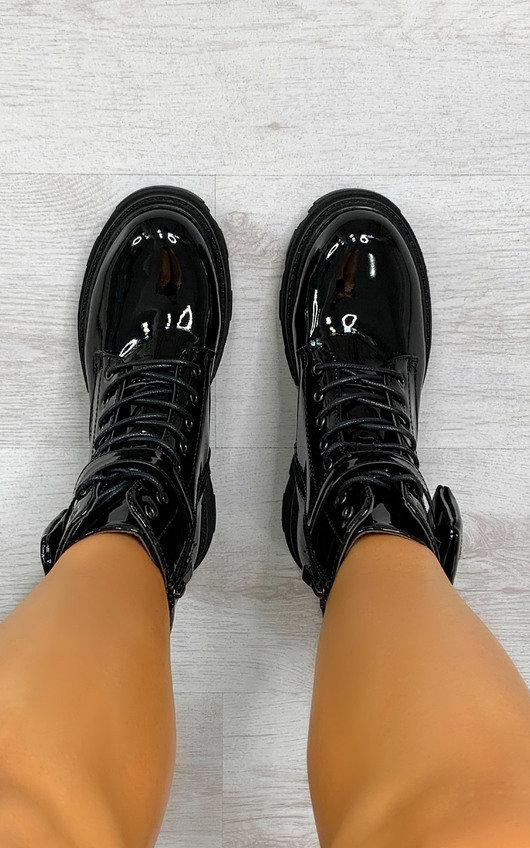 Chrissy Lace Up Patent Biker Boots