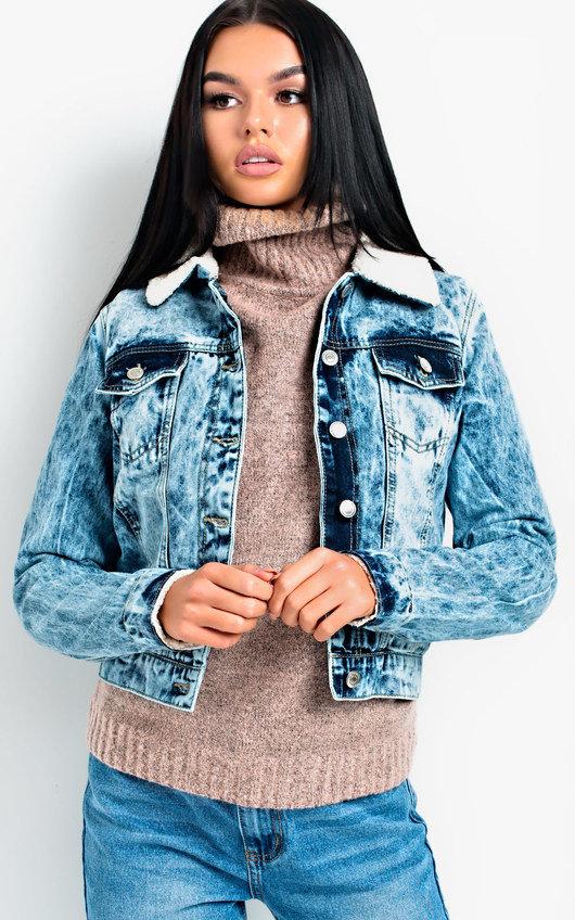 Ciara Acid Wash Shearling Denim Jacket