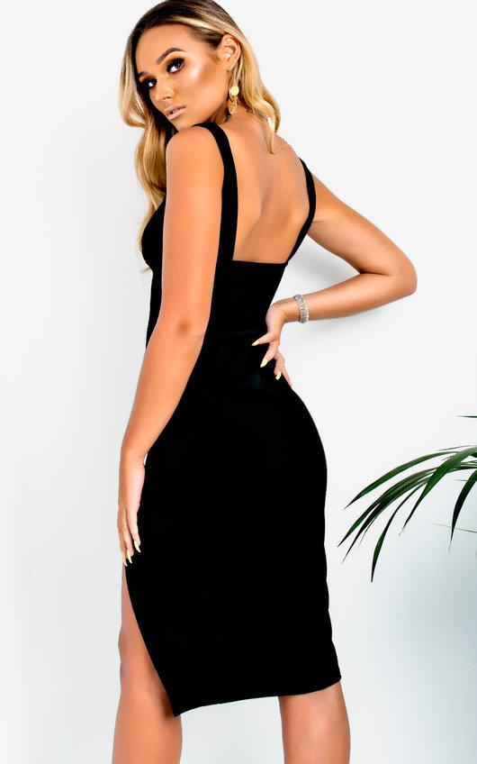 Ciara Bodycon Midi Dress in Black  0dfa049b497b