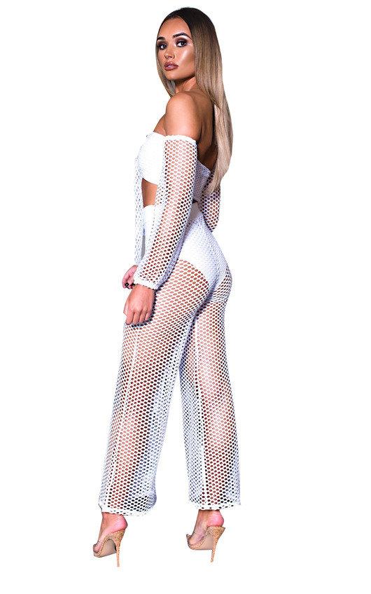 21f4e4bbce03 Ciara Off Shoulder Crochet Co-ord in White | ikrush