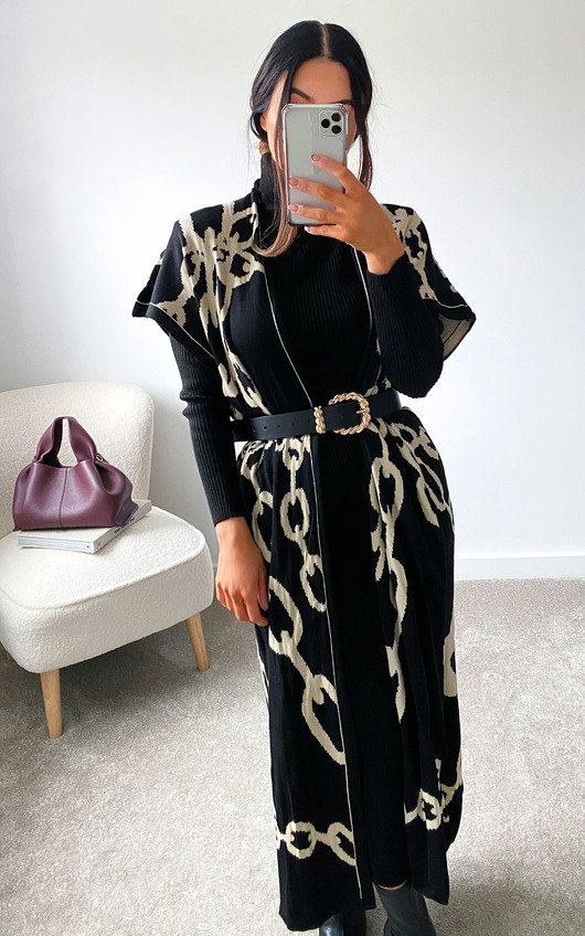 Ciara Sleeveless Longline Cardigan & Dress Co-Ord