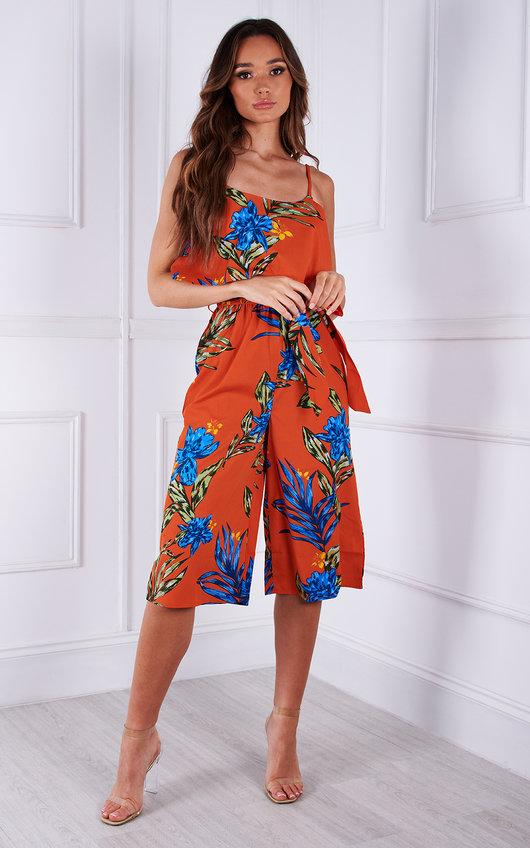 Cici Belted Floral Printed Culotte Jumpsuit