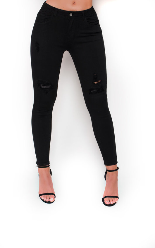 Cici Black Distressed Mid Rise Jeans