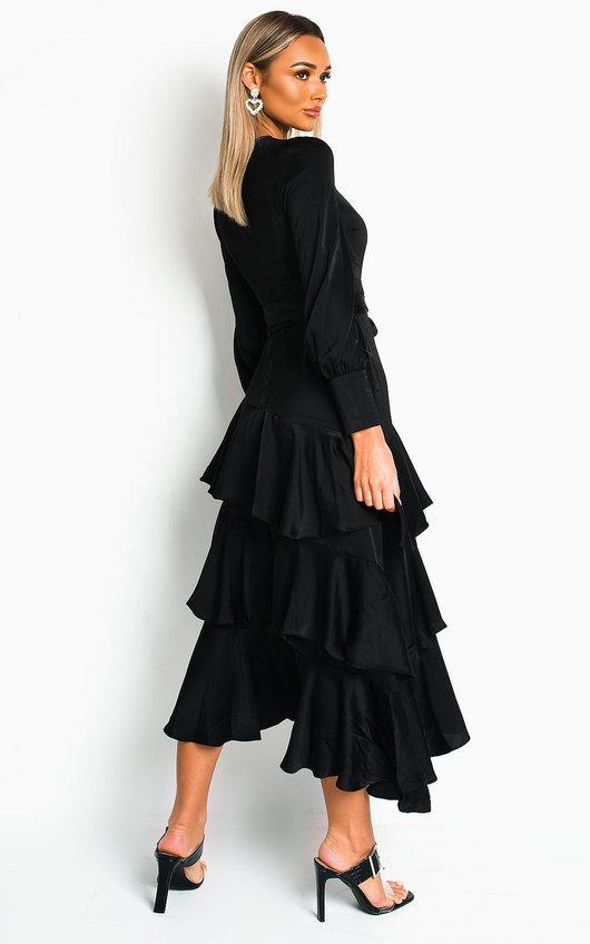 Cici Satin Frill Maxi Dress