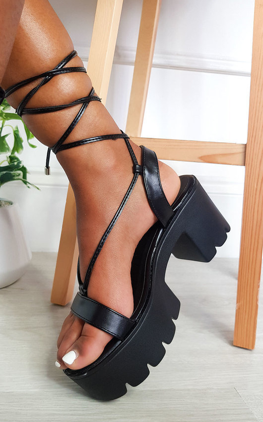 Cici Strappy Faux Leather Flatform Sandals in Black