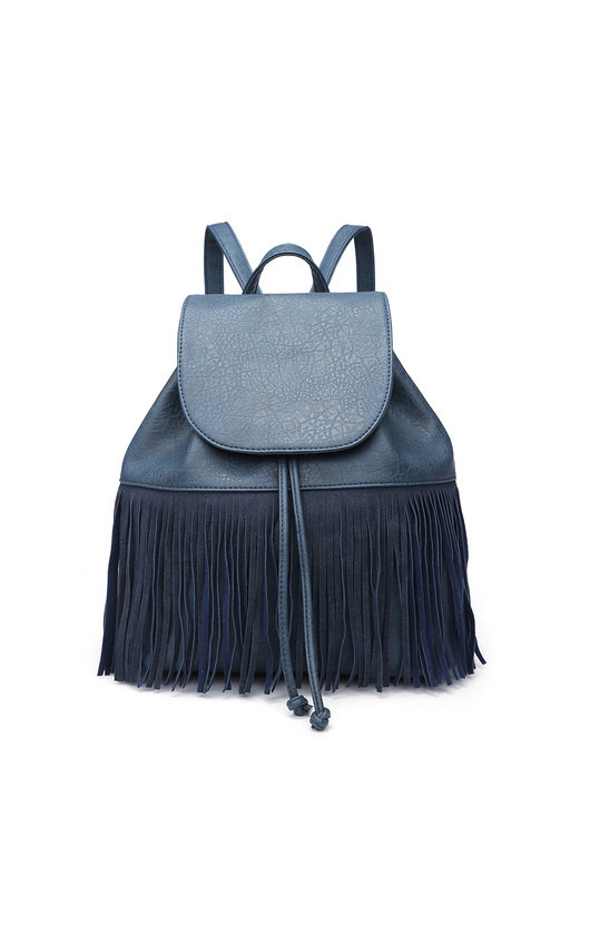 Cindee Faux Leather Fringe Backpack Bag
