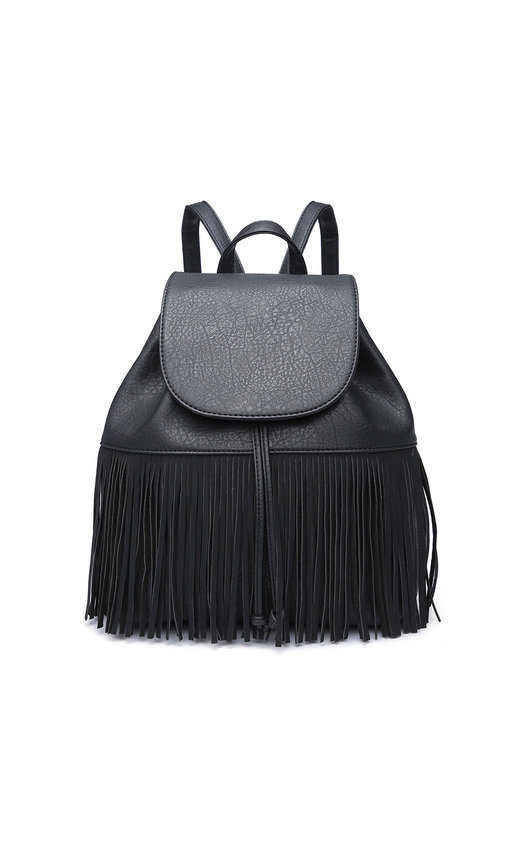 Cindee Faux Leather Fringe Backpack Bag