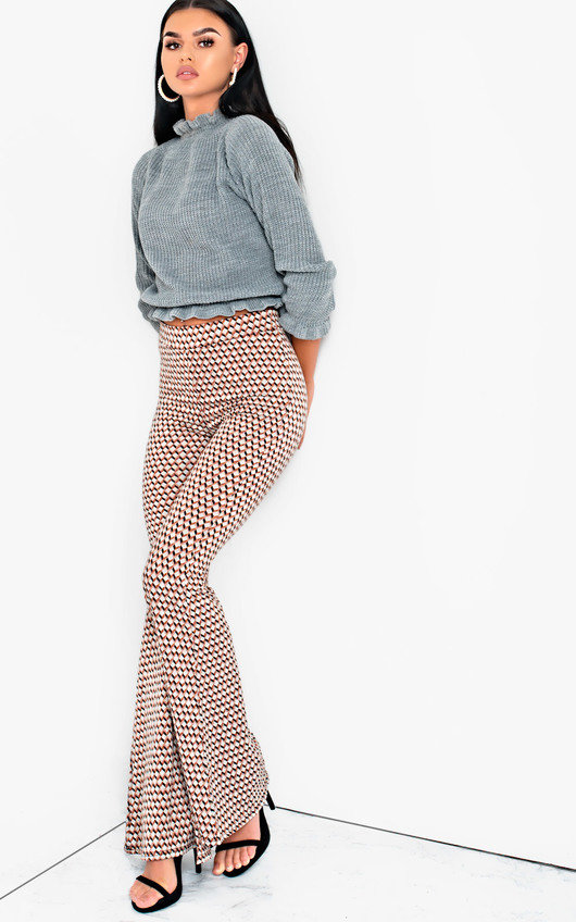 Cindy High Waist Printed Flare Trousers
