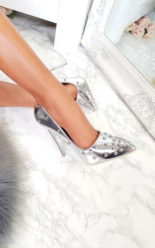 Cindy Metallic Studded Court Heels